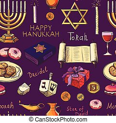 Seamless pattern with Hanukkah symbols - Hanukah, Purim,...