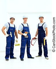 Group of professional industrial wo