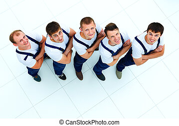 Group of professional industrial workers top view