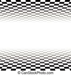 Checkered plane fading to transparent. Vector art.