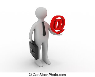 3d people - man, person holding email symbol