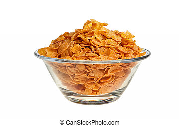 Cornflakes in glass bowl isolated over white background.