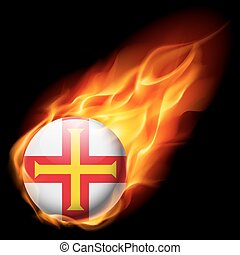 Round glossy icon of Guernsey - Flag of Guernsey as round...