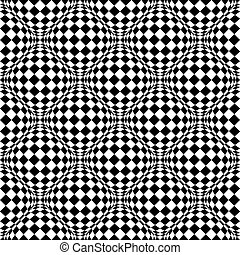 Seamless pattern with bulging distortion on checkered...