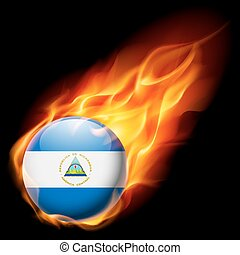 Round glossy icon of Nicaragua - Flag of Nicaragua as round...