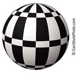 Sphere with checkered surface on white. Vector art.