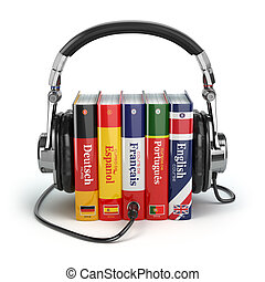 Learning languages online. Audiobooks concept. Books and...