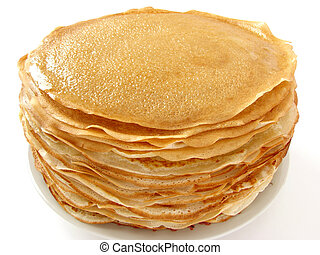 homemade pancakes pile on plate...
