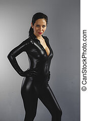 beautiful brunette with black suit, armed and dangerous...
