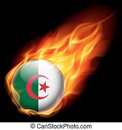 Round glossy icon of Algeria - Flag of Algeria as round...