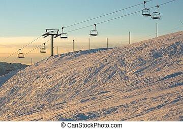 Ski Lift - Ski lift in the mountains