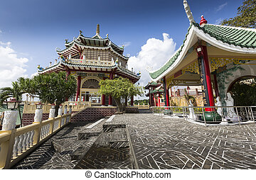 Pagoda and dragon sculpture of the Taoist Temple in Cebu,...