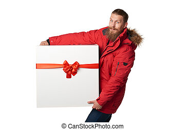 Christmas, x-mas, winter gift concept Man wearing red winter...