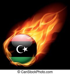 Round glossy icon of Libya - Flag of Libya as round glossy...
