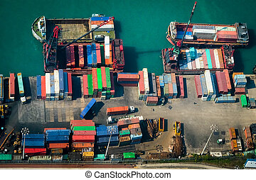 Aerial view of cargo ships at port terminal Hong Kong -...