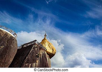 Golden Rock, sacred Buddhist place in Kyaiktiyo, Myanmar (Burma)