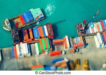 Cargo ships with containers at port terminal. Hong Kong....