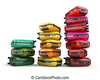 Heap of baggage.Travel or tourism development concept....