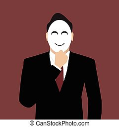 Businessman wearing a mask vector illustration