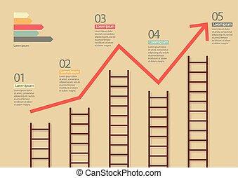 Growth chart with ladders infographic