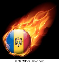 Round glossy icon of Moldova - Flag of Moldova as round...