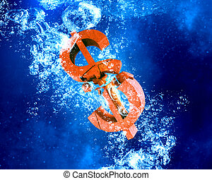Financial crisis concept - Dollar sign sink in clear blue...