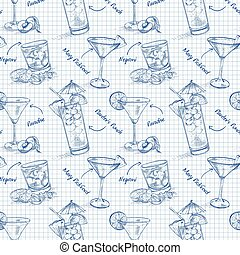 Scetch pattern contemporary classic cocktails on notebook...