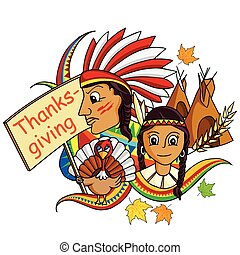 Happy Thanksgiving doodle drawing background - vector...