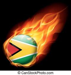 Round glossy icon of Guyana - Flag of Guyana as round glossy...