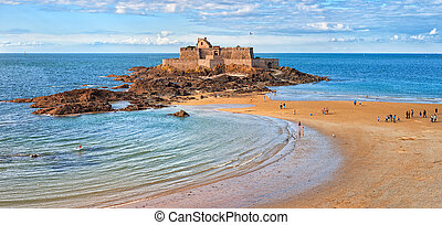 Saint Malo, Brittany, France - Atlantic beach beneath the...