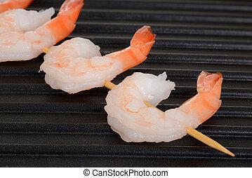 shrimp skewer on grill