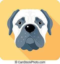 dog Bullmastiff icon flat design - Vector serious dog...