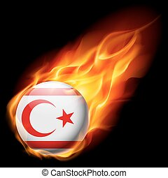 Round glossy icon of Northern Cyprus - Flag of Northern...
