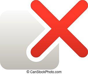 Red cross over square. Delete, remove, incorrect icon.