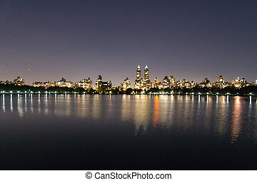 Night in the Upper West Side - Central Park Reservoir was...