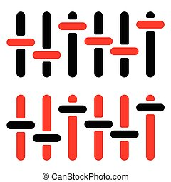 Red and black slider, adjuster, fader silhouettes on white