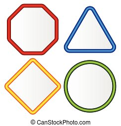 Empty signs. Octagon, triangle, square, circle shapes.