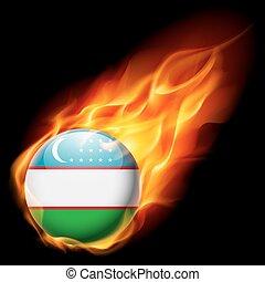 Round glossy icon of Uzbekistan - Flag of Uzbekistan as...
