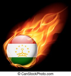 Round glossy icon of Tajikistan - Flag of Tajikistan as...