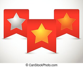Gold, silver and bronze stars on red ribbons