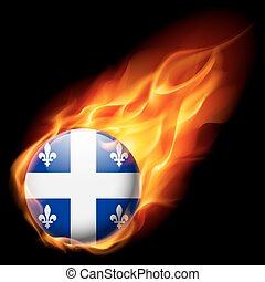 Round glossy icon of Quebec - Flag of Quebec as round glossy...