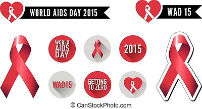 World AIDS Day Ribbon and Flat Icons - Vector graphic...