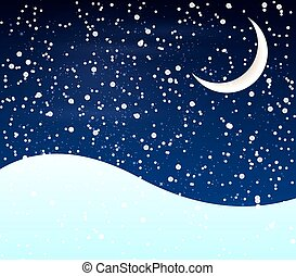 Snow at night crescent - Snow at night with a crescent moon,...