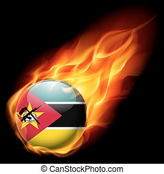 Round glossy icon of Mozambique - Flag of Mozambique as...