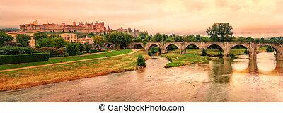 Cite de Carcassonne, Languedoc-Roussillon, France - Sunset...