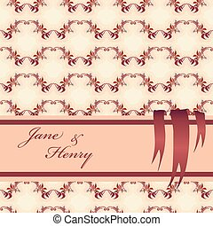 Background with pattern of autumn wild grape branches and ribbon