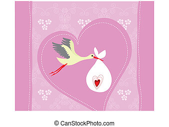 Baby girl arrival announcement card. Vector illustration.