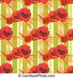 Garland of poppies and wheat. Seamless pattern