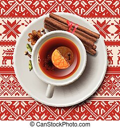 Christmas tea with spices, aromatic mulled wine, cup of tea,...