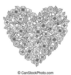 Hand drawing zentangle element Black and white Flower...